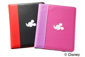 【Apple iPad 2(2011年3月発表モデル)】ディズニーキャラクター・フラップタイプ・レザージャケット