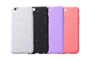 【Apple iPhone 6/iPhone 6s】スマホ女子・フラワー・ジュエリー・シリコンジャケット