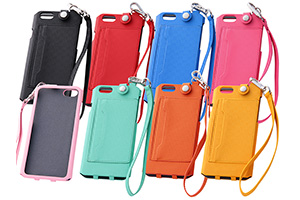 【Apple iPhone 6】カラフル・ストラップ・レザージャケット(合皮タイプ)