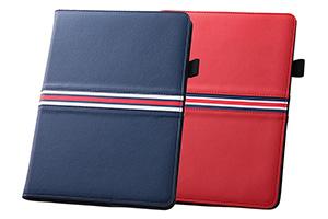 【Apple iPad Air 2】フラップタイプ・トリコロール・レザージャケット(合皮タイプ)