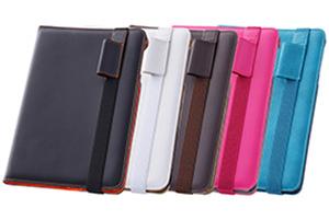 【Apple iPad mini 3、iPad mini 2】フラップタイプ・マルチアングル・レザージャケット(合皮タイプ)