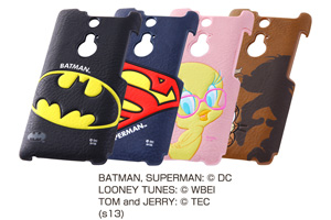 【ARROWS NX F-01F】バットマン、スーパーマン、トゥイーティー、トム&ジェリー・ポップアップ・レザージャケット(合皮タイプ)