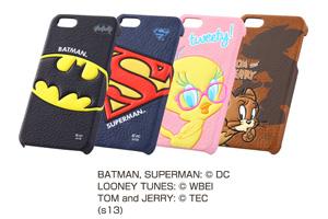 【Apple iPhone SE/iPhone 5s/iPhone 5】バットマン、スーパーマン、トゥイーティー、トム&ジェリー・ポップアップ・レザージャケット(合皮タイプ)