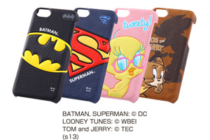 【Apple iPhone 5c】バットマン、スーパーマン、トゥイーティー、トム&ジェリー・キャラクター・ポップアップ・レザージャケット(合皮タイプ)