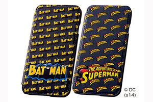 【Apple iPhone 6/iPhone 6s】バットマン、スーパーマン・ポップアップ・ブックカバータイプ・レザージャケット(合皮タイプ)