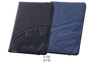 【Apple iPad mini 3、iPad mini 2】バットマン、スーパーマン・レザージャケット(合皮タイプ)
