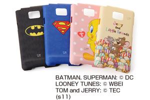 【GALAXY S ? SC-02C】バットマン、スーパーマン、トゥイーティー、ジェリーとリトルフレンズ・キャラクター・シェルジャケット