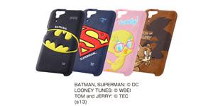 【docomo AQUOS PHONE ZETA SH-01F】バットマン、スーパーマン、トゥイーティー、トム&ジェリー・ポップアップ・レザージャケット(合皮タイプ)
