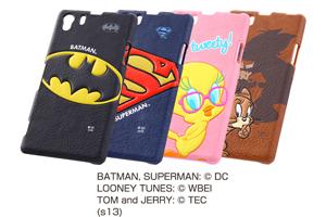【Xperia? Z1】バットマン、スーパーマン、トゥイーティー、トム&ジェリー・ポップアップ・レザージャケット(合皮タイプ)