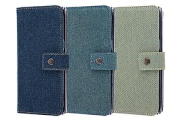 【Galaxy S8】手帳型ケース ファブリック デニム ポケット