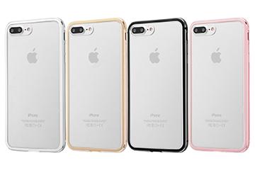 【Apple iPhone 8 Plus/iPhone 7 Plus】アルミバンパー+背面パネル(クリア)