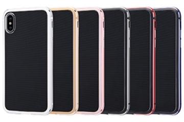 【Apple iPhone X】アルミバンパー+背面パネル(クリア)