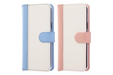 手帳型ケース ノーブル ブルー/ホワイト