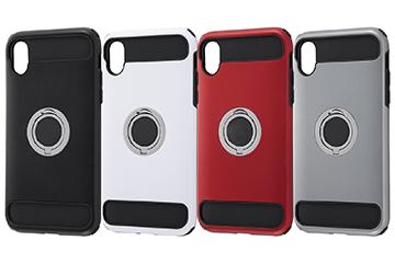 【Apple iPhone XR】耐衝撃ケース リング付360